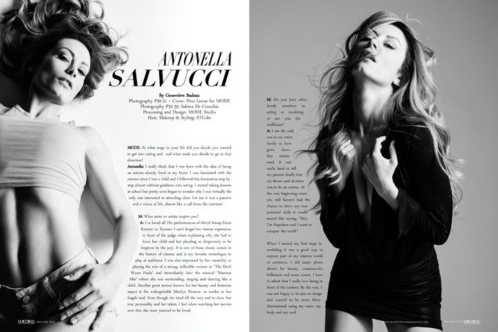 An Interview With Antonella Salvucci - May/June 2015 Mode Lifestyle Magazine. Photography P30-31 + Cover: Pino Leone for MODE