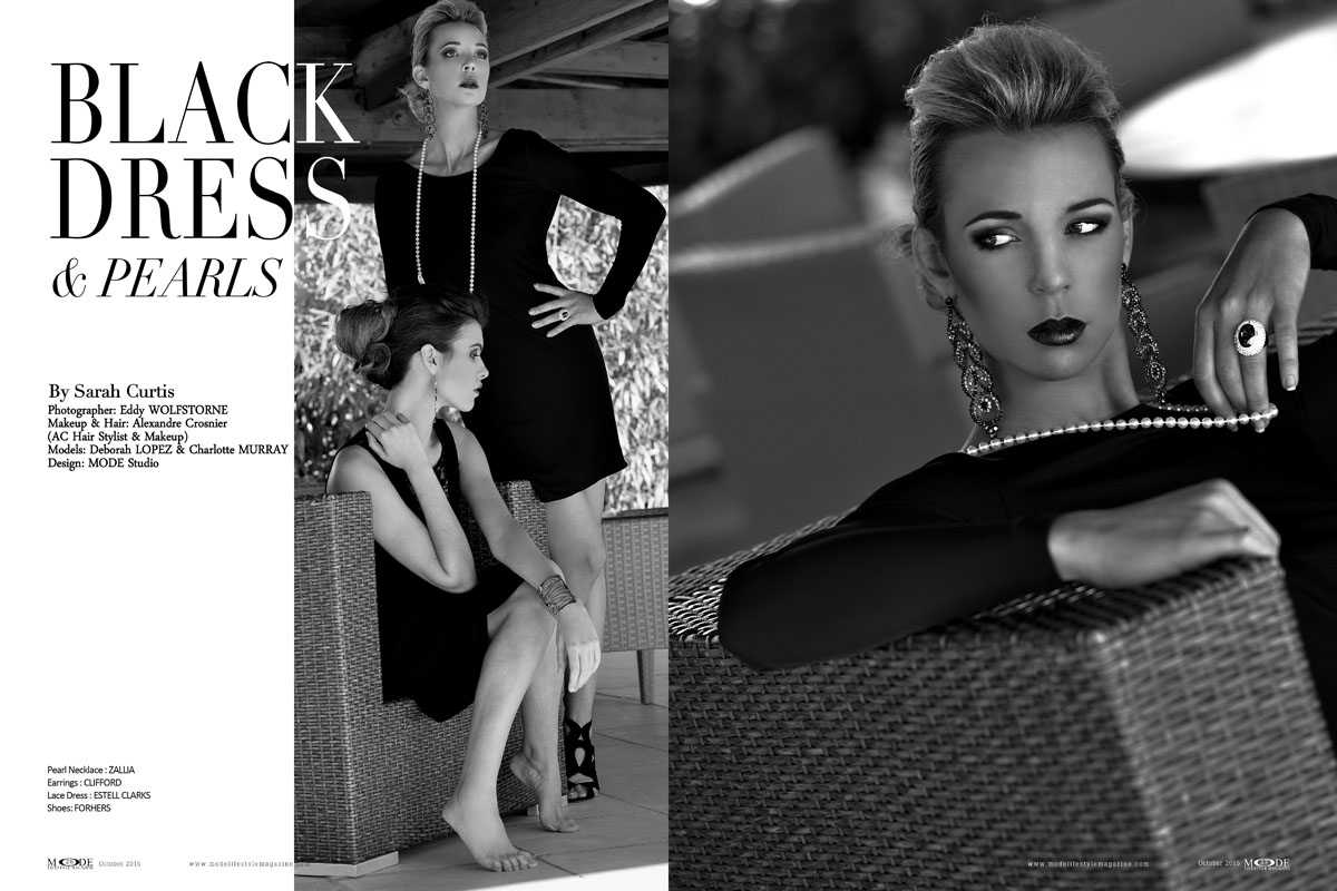 Black Dress & Pearls- with Deborah LOPEZ & Charlotte MURRAY - MODE Oct 2015-Page-Spread-26-27