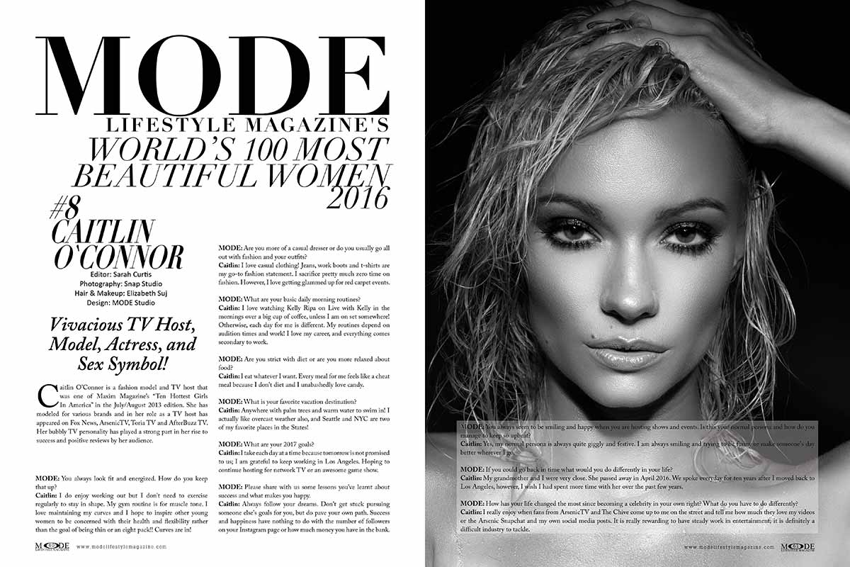 Vivacious Caitlin O'Connor is #8 in MODE's World's 100 Most Beautiful Women 2016