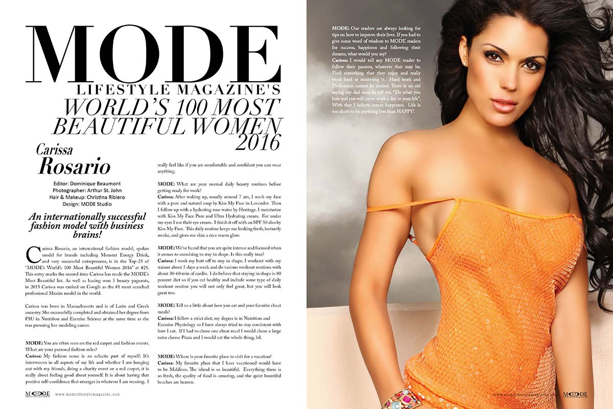 "Carissa Rosario, International Fashion Model and Entrepreneur, is in ""Mode's World's 100 Most Beautiful Women - 2016"" - Interview!"