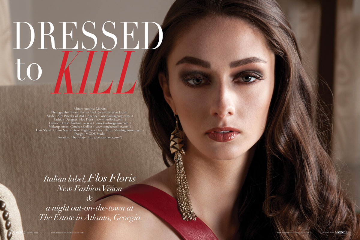 """""""Dressed-To-Kill"""": Ally Peterka Wears Flos Floris' BLACKOUT Collection. Mode Lifestyle Magazine Oct-2015. Page-Spreads 108-119-1"""