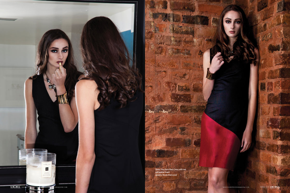 """""""Dressed-To-Kill"""": Ally Peterka Wears Flos Floris' BLACKOUT Collection. Mode Lifestyle Magazine Oct-2015. Page-Spreads 108-119-4"""