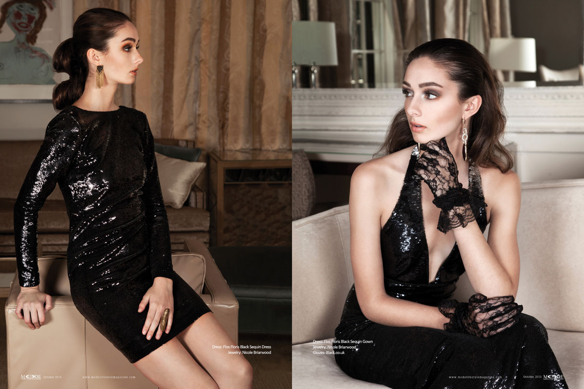 """""""Dressed-To-Kill"""": Ally Peterka Wears Flos Floris' BLACKOUT Collection. Mode Lifestyle Magazine Oct-2015. Page-Spreads 108-119-6"""
