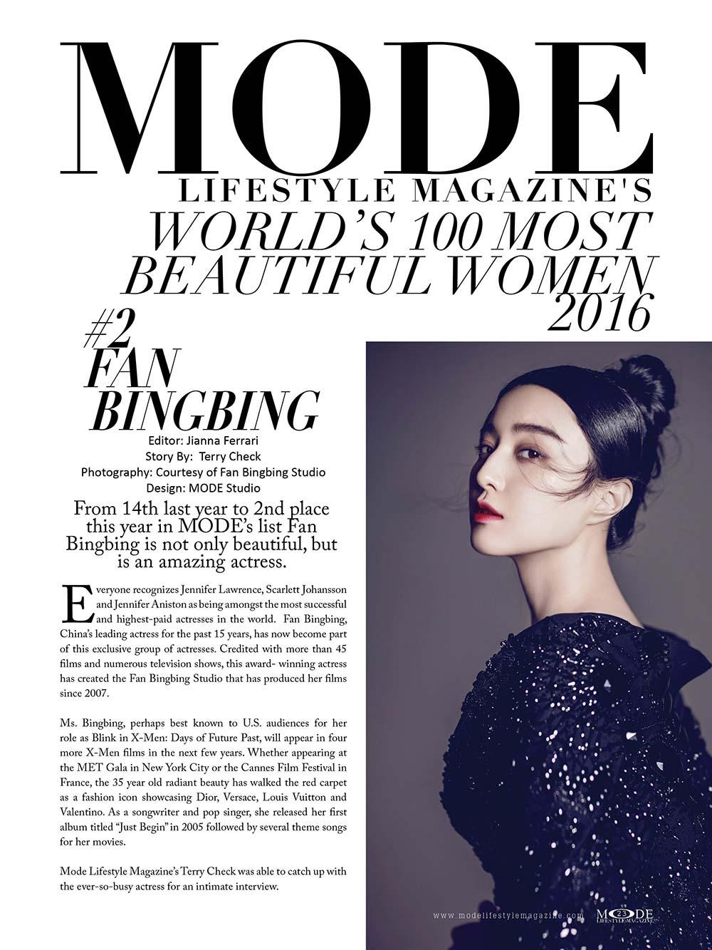 """Fan Bingbing - Award Winning Actress is #2 in """"MODE's World's 100 Most Beautiful Women 2016""""."""