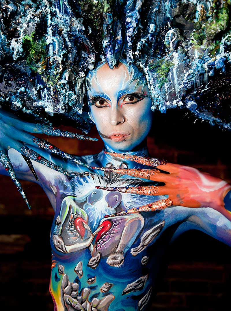 Lady In Blue - Body Painting