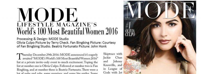 "Olivia Culpo is #1! – MODE Announces ""MODE's World's 100 Most Beautiful Women 2016"" List"