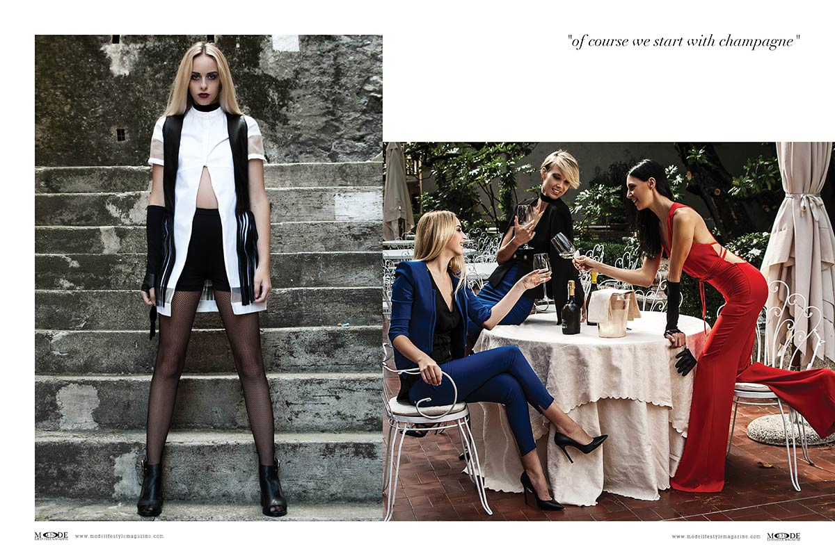 "Dressed for Lunch - ""of course we start with champagne"" . Mode Lifestyle Magazine ""Hollywood Icons"" Issue"