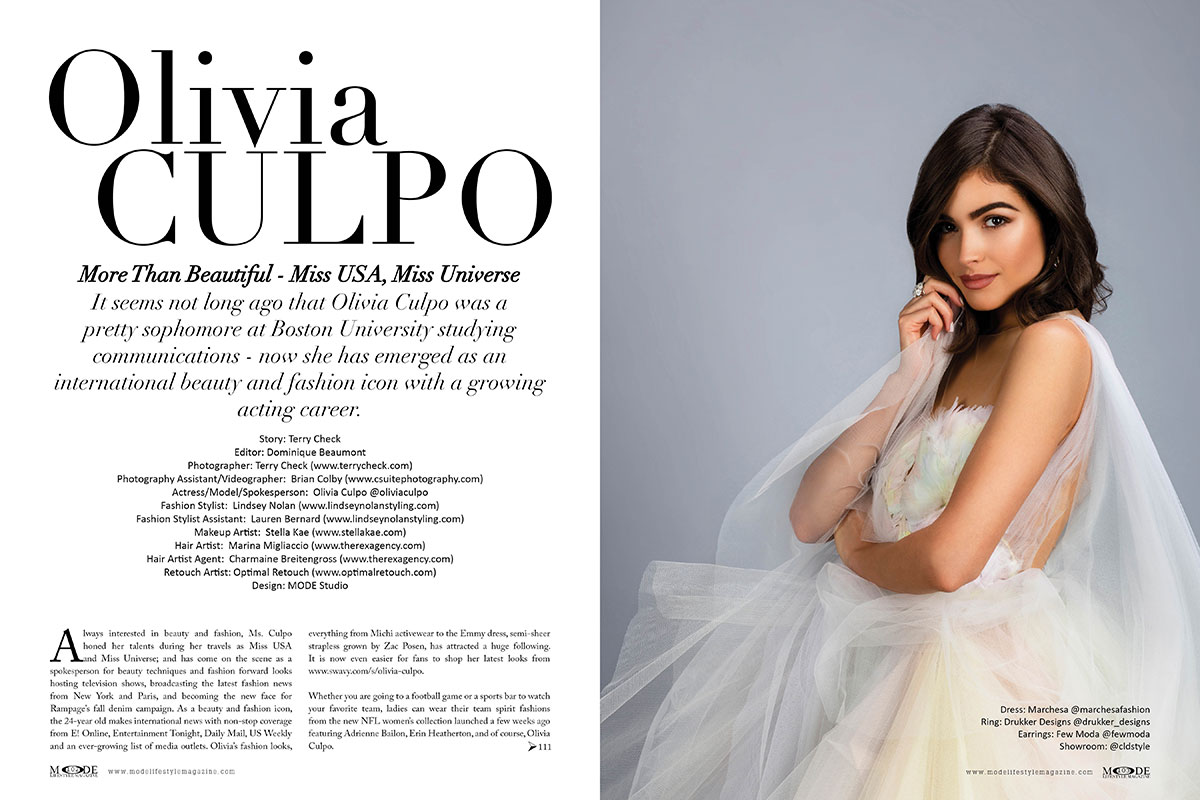 """Olivia Culpo Cover Editorial - Mode Lifestyle Magazine """"Hollywood Icons"""" Issue"""