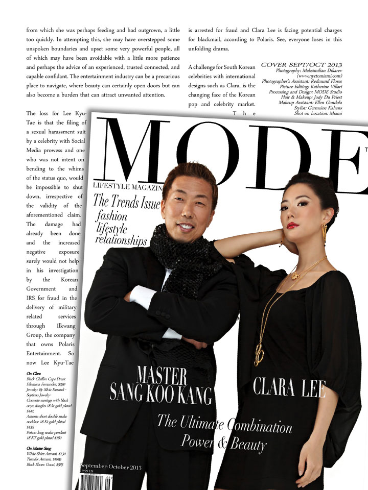 Clara Lee on Cover of MODE, with Master Sang Koo Kang - Sep/Oct 2013 Mode Lifestyle Magazine