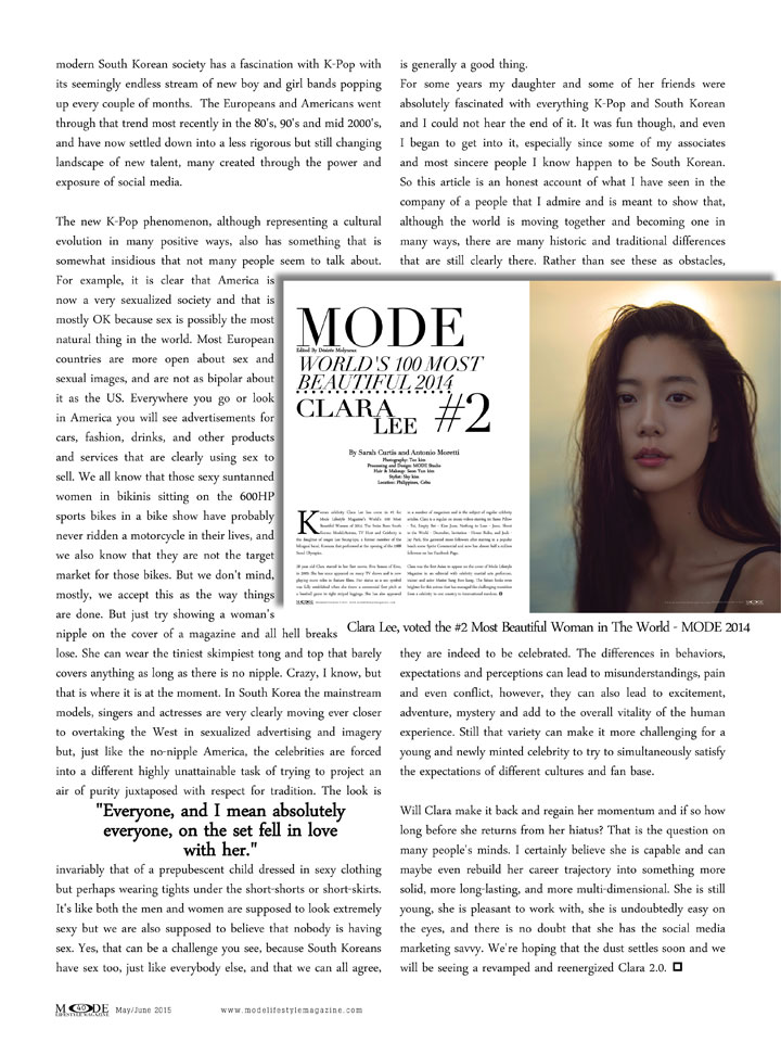 Clara Was Voted #2 Most Beautiful Woman In The World In 2014 By Mode Lifestyle Magazine