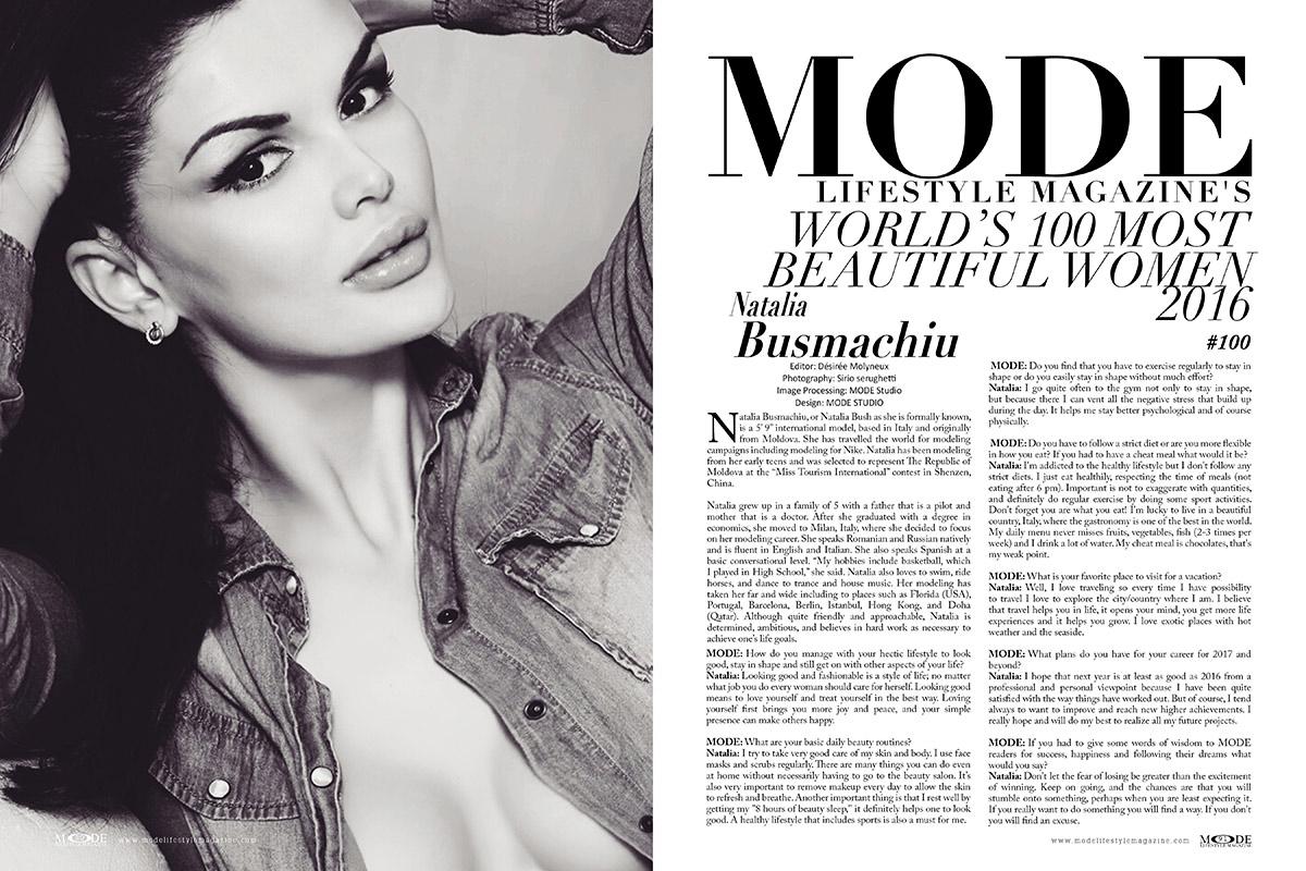 Natalia Busmachiu - Listed In MODE's 100 Most Beautiful Women 2016