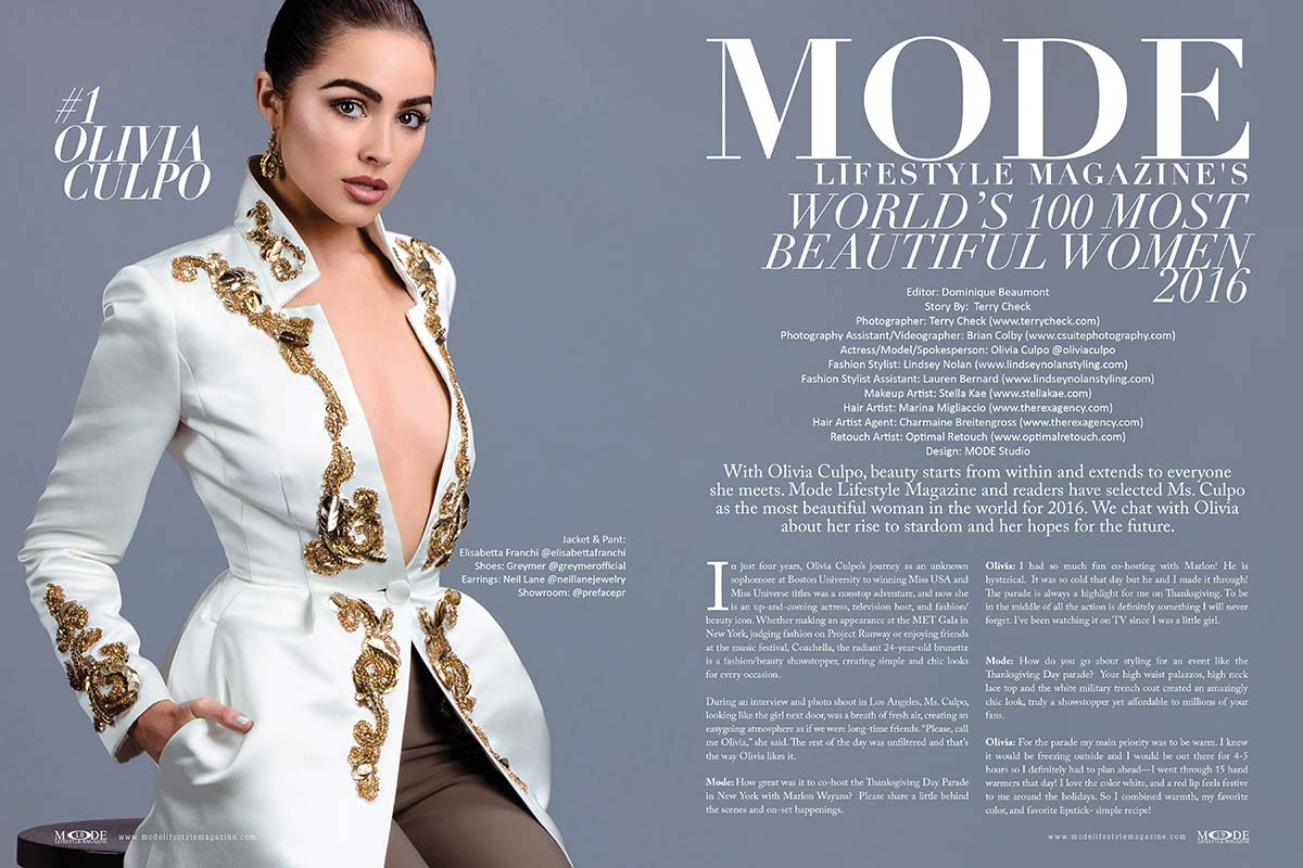 "Olivia Culpo is voted #1 by MODE readers in ""MODE's World's 100 Most Beautiful Women 2016"" list. Photography by Terry Check"