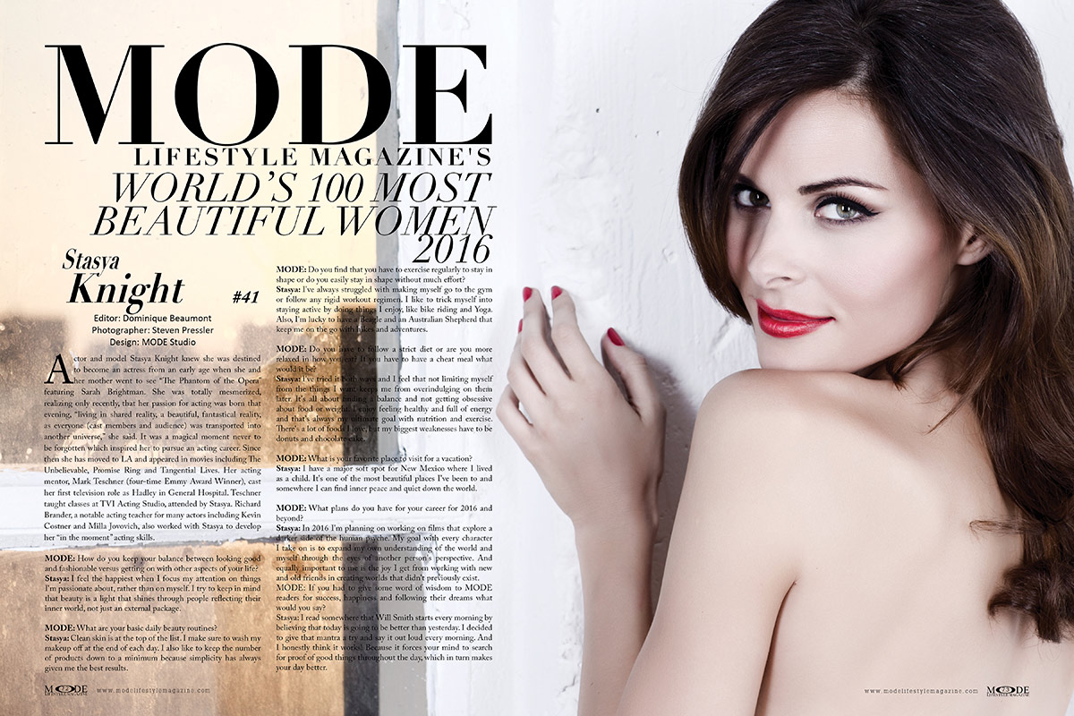 Actor and Cover Model Stasya Knight - In MODE's World's 100 Most Beautiful Women 2016 List