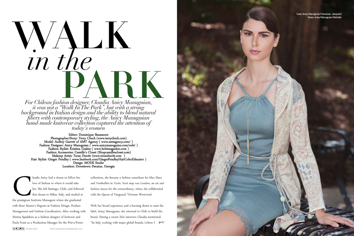 """Audrey Garrett Wears """"Claudia Anicy Manuguian"""" Collection For A """"Walk In The Park"""" - Mode-Oct-2015-Page-Spreads-94-103-1"""