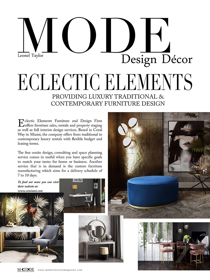 """Eclectic Elements Furniture Design - Mode Lifestyle Magazine """"Living A Full Life"""" Issue 2020 - Page 36"""