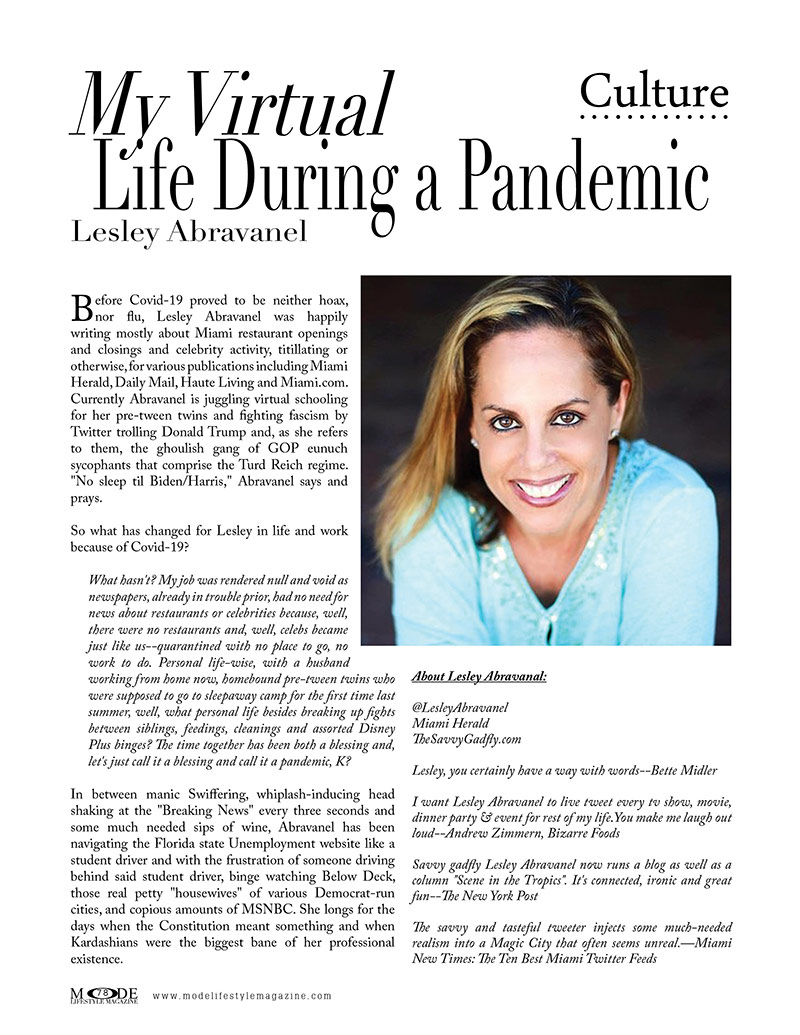 """Lesley Abravanel - """"My Virtual Life During A Pandemic"""" - MODE's Virtual Living, Work & Fashion Issue 2020"""