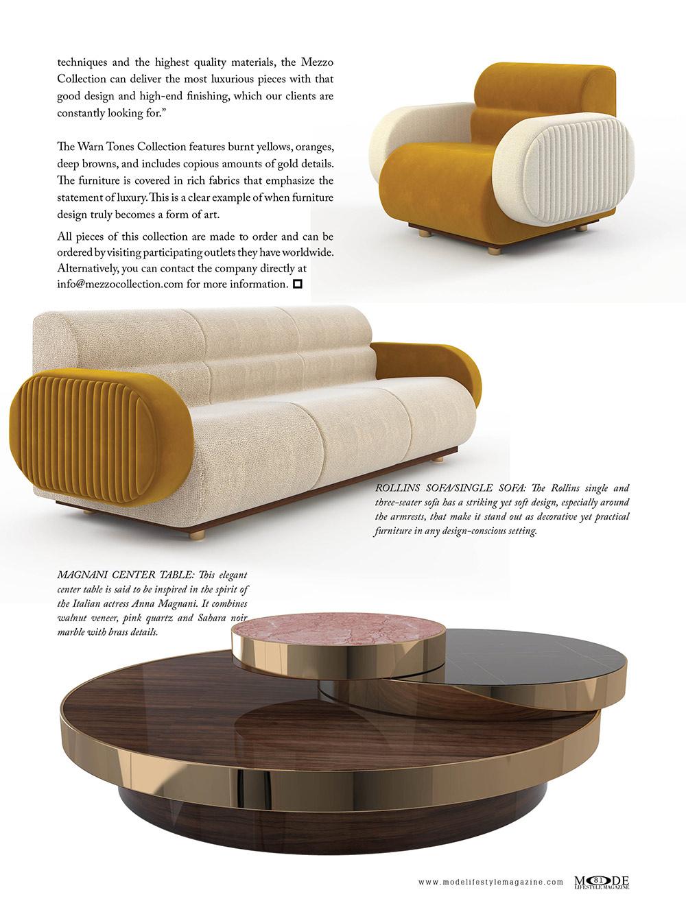 MAGNANI CENTER TABLE: Warm Tones - Mezzo Collection
