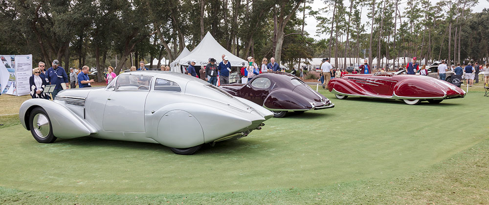 Silver 1938 Dubonnet Xenia, Magenta 1937 Tabot-Lago Type 150 C-S, Bright red 1939 French Delahaye Type 165 Cabriolet