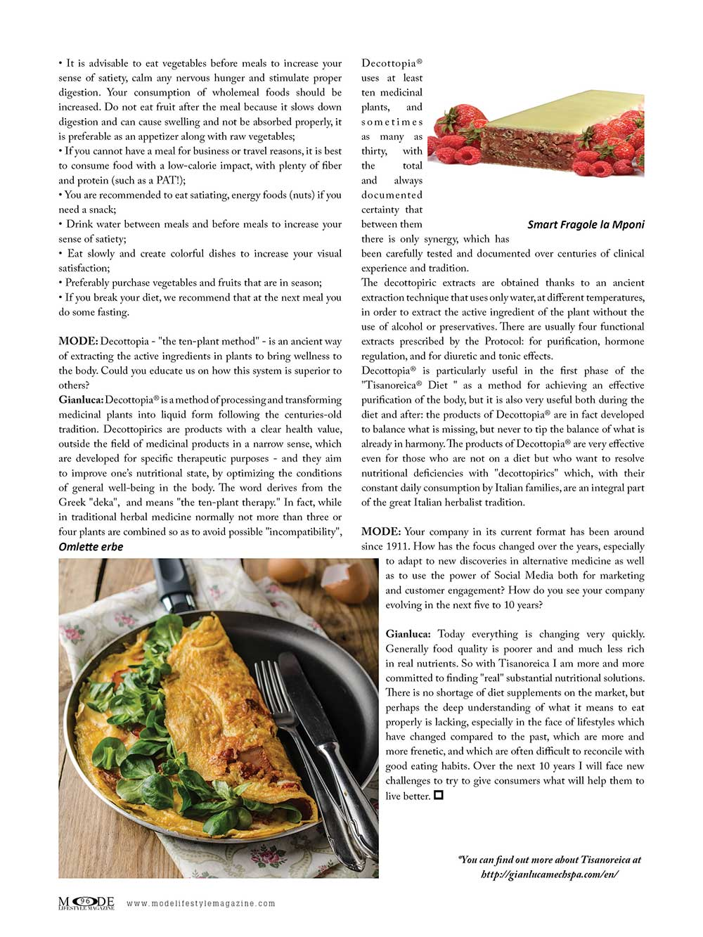 TISANOREICA - A modern diet from a historic Italian family. Low-carb - normal protein meals.